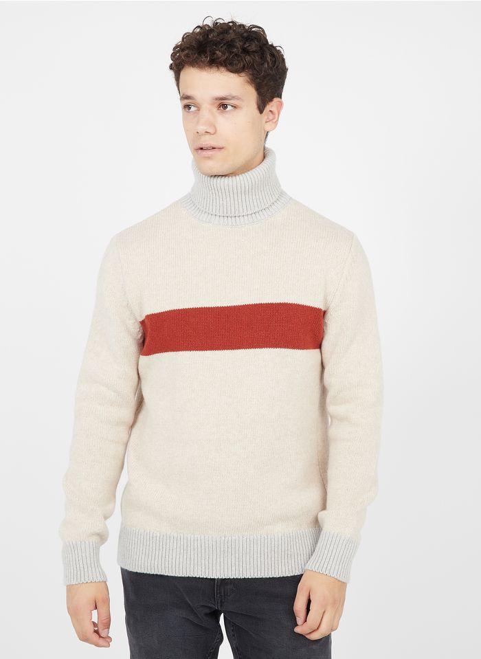 OLOW Col roulé regular-fit en laine Beige