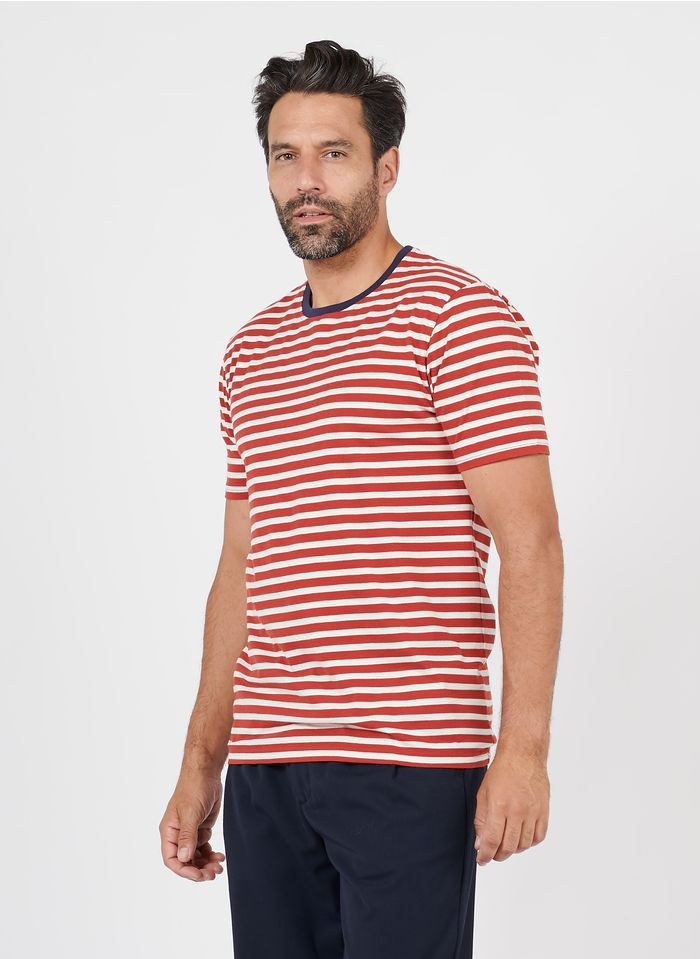 OLOW Tee-shirt col rond rayé en coton bio Rouge