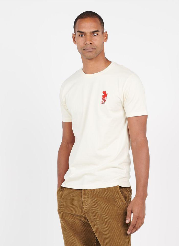 OLOW Tee-shirt col rond regular-fit brodé en coton bio Blanc