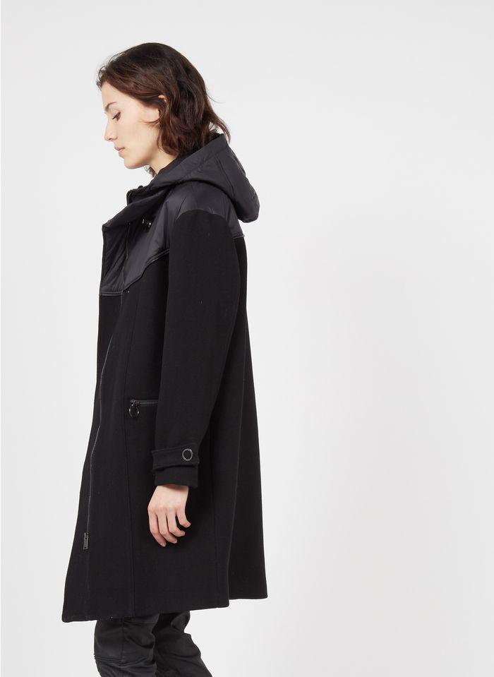 ONE STEP Manteau à capuche bi-matière Noir