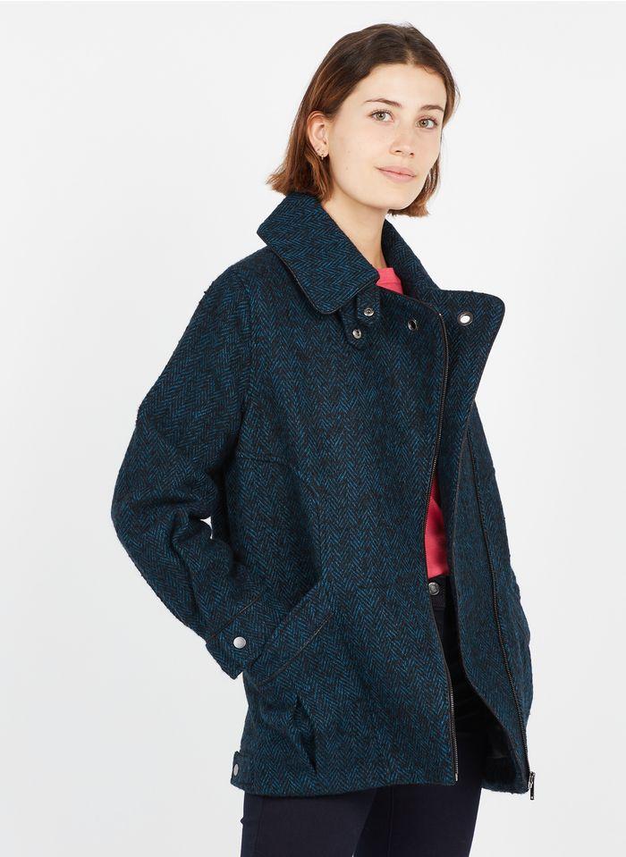 ONE STEP Manteau col montant motifs chevrons en laine mélangée Bleu