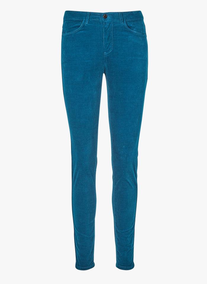 ONE STEP Pantalon slim 7/8ème en velours Bleu