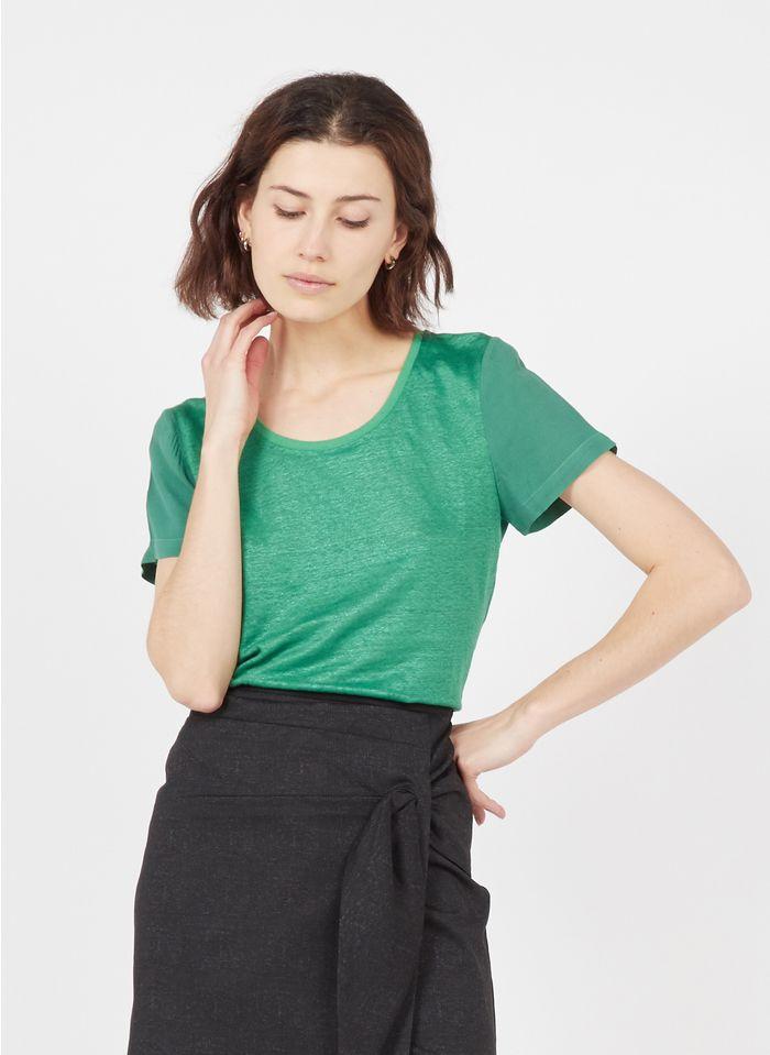 ONE STEP Tee-shirt col rond bi-matière Vert