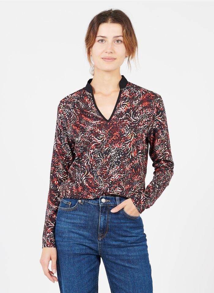 ONE STEP Tee-shirt col V imprimé en coton et modal Noir