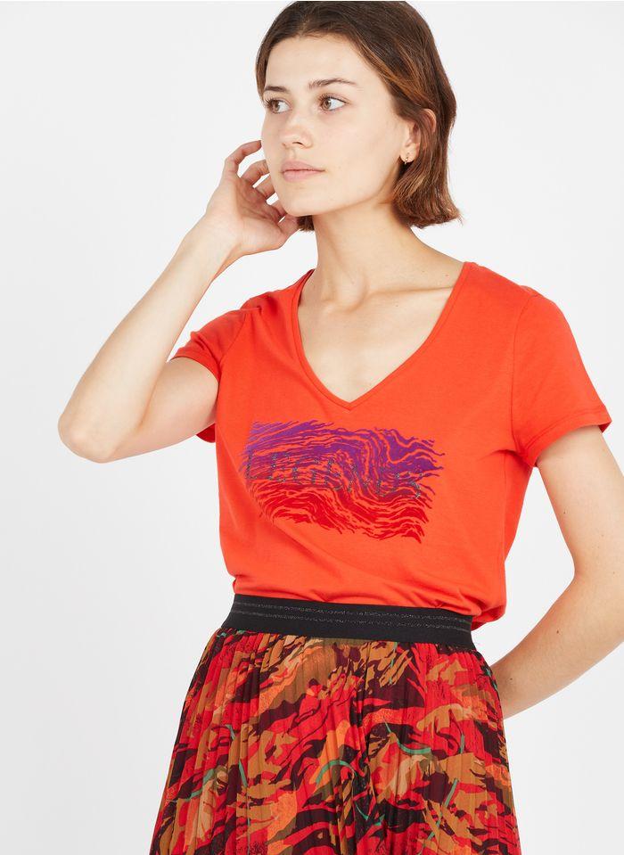 ONE STEP Tee-shirt col V sérigraphié en velours en coton bio  Rouge