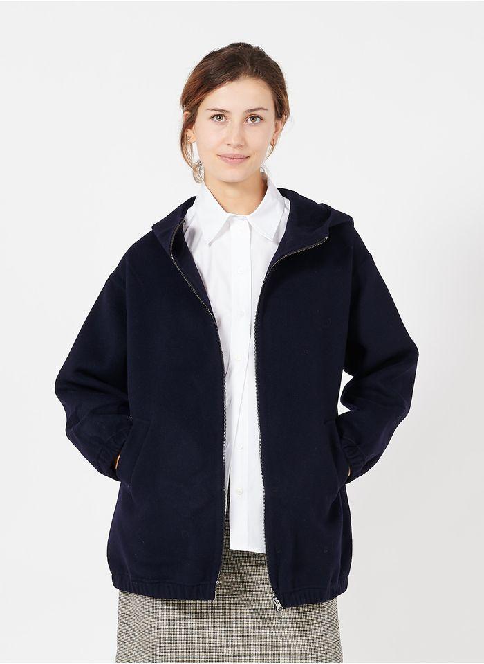 PABLO Blouson zippé avec capuche en laine Bleu