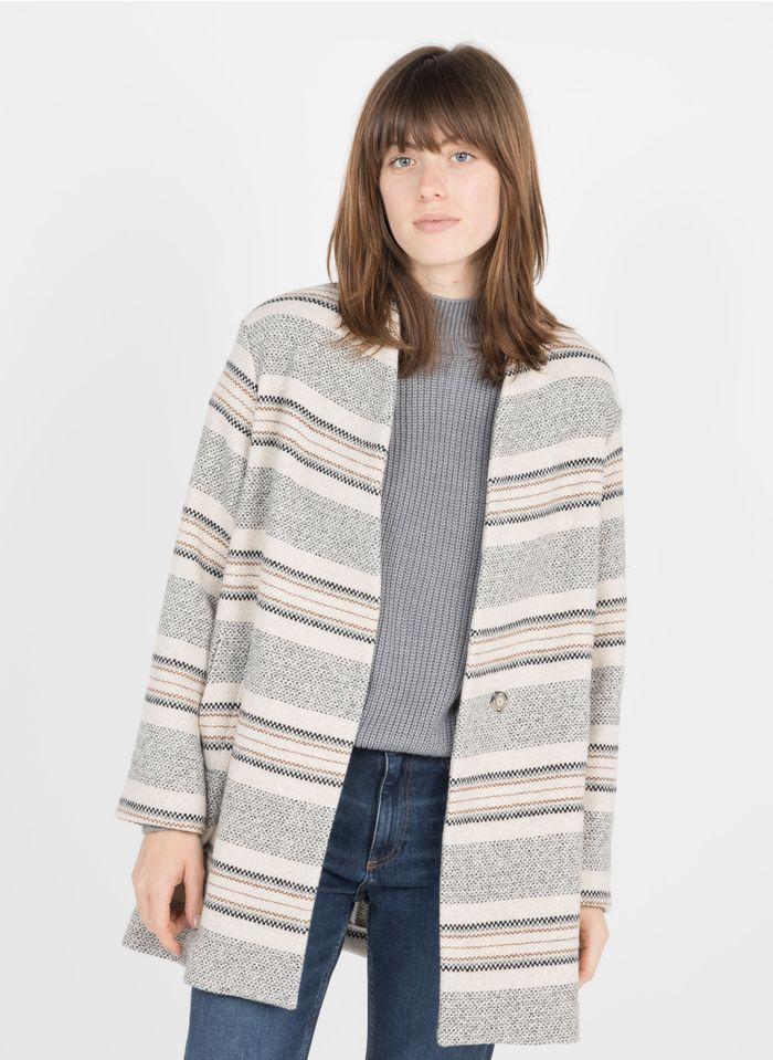 PABLO Manteau ample motifs rayés en laine mélangée Beige