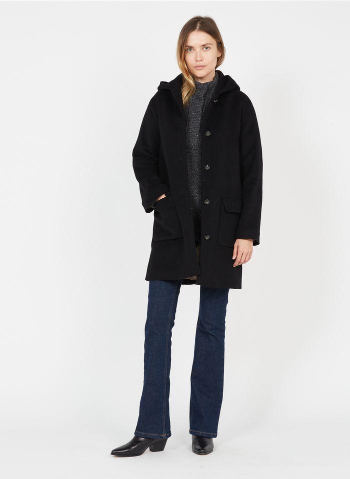 PABLO Manteau col rond à capuche en laine mélangée Noir