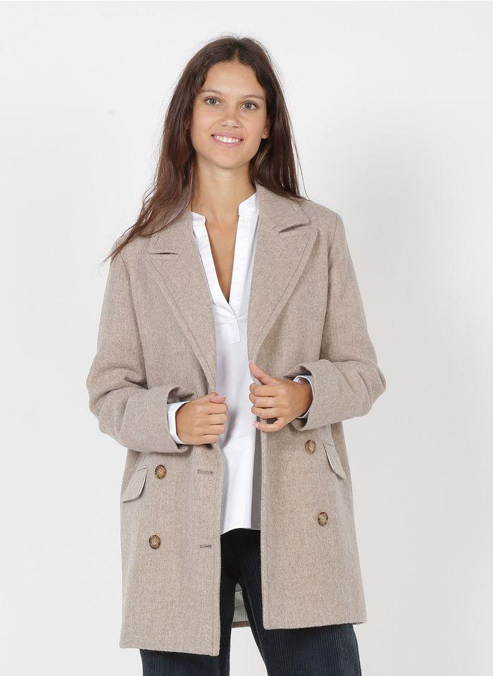PABLO Manteau col tailleur en laine  Beige