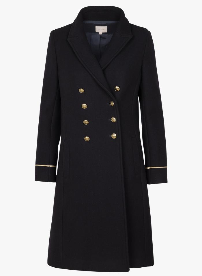 PABLO manteau col tailleur en laine mélangée Bleu