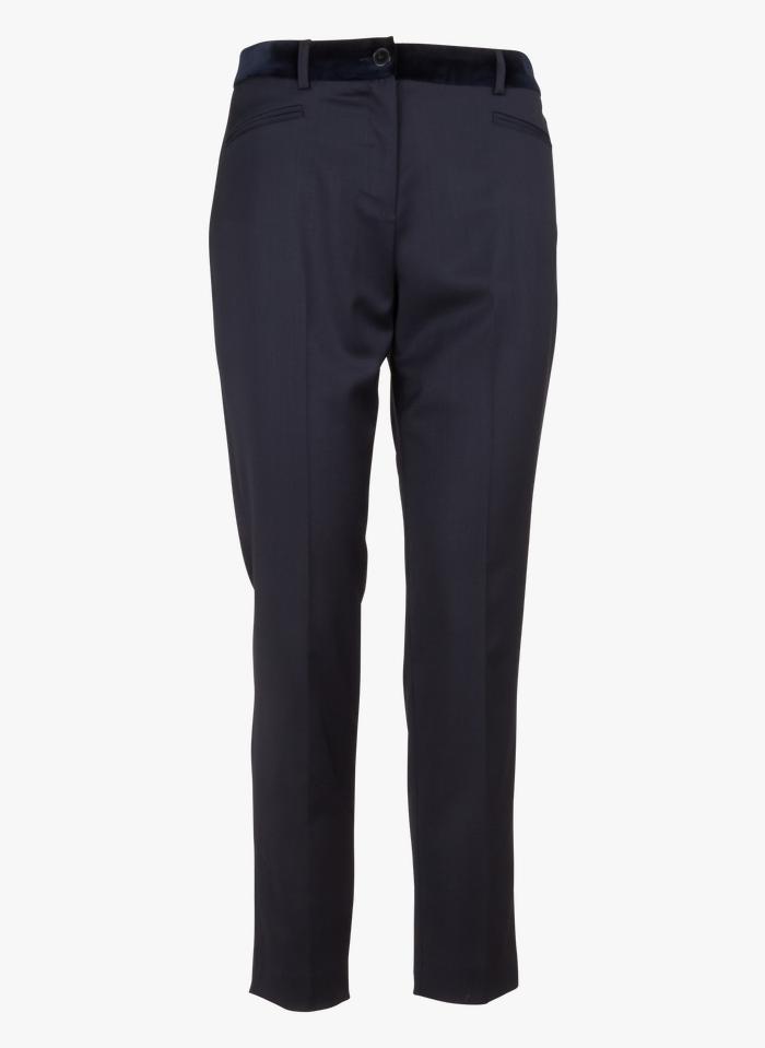 PABLO Pantalon droit en laine vierge et ceinture en velours lisse Bleu