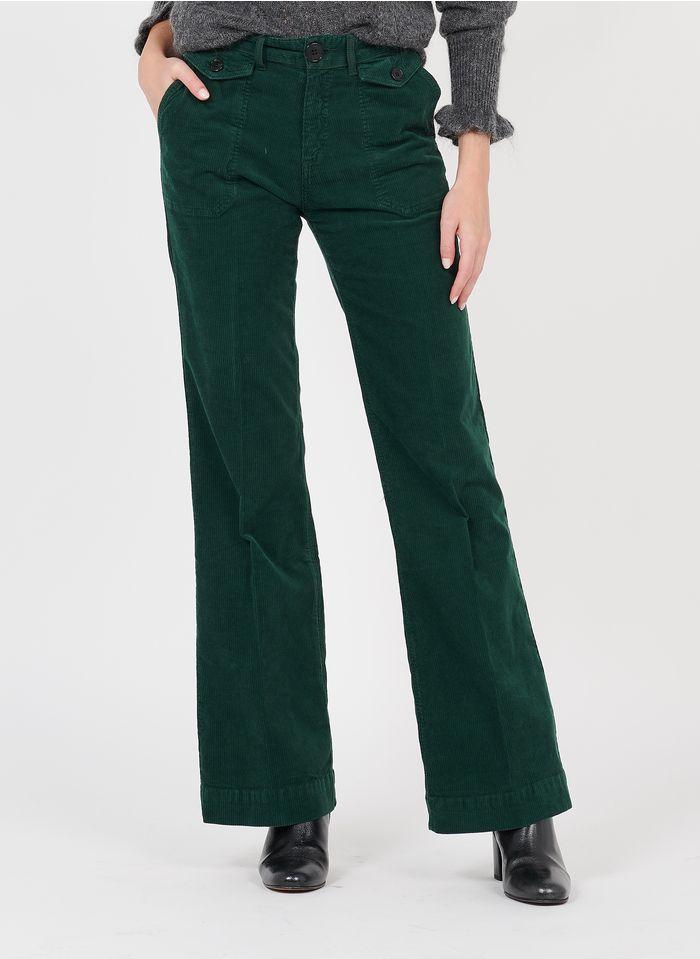 PABLO Pantalon flare en velours côtelé Vert