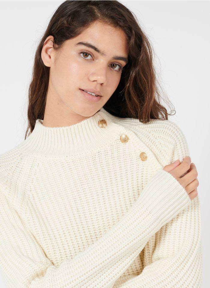 PABLO Pull col montant en laine mérinos  Beige