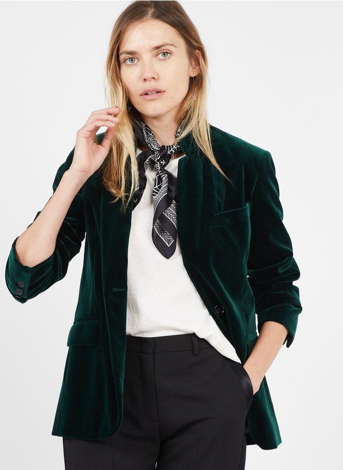 PABLO Veste col tailleur velours en coton mélangé  Vert