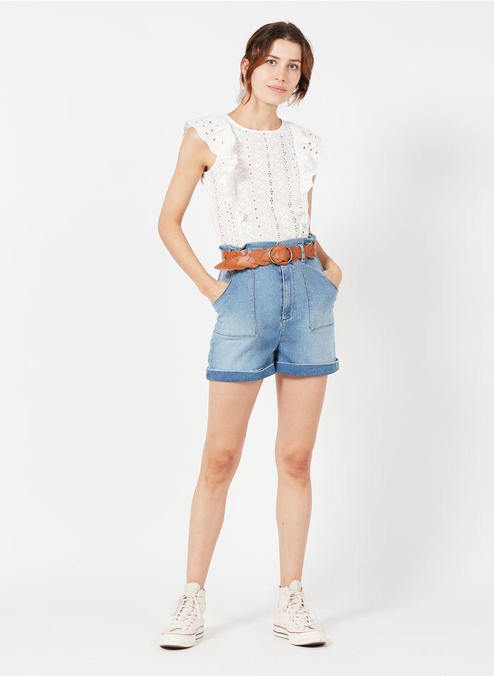 NAF NAF Short en jean taille haute en coton strech Jean Délavé
