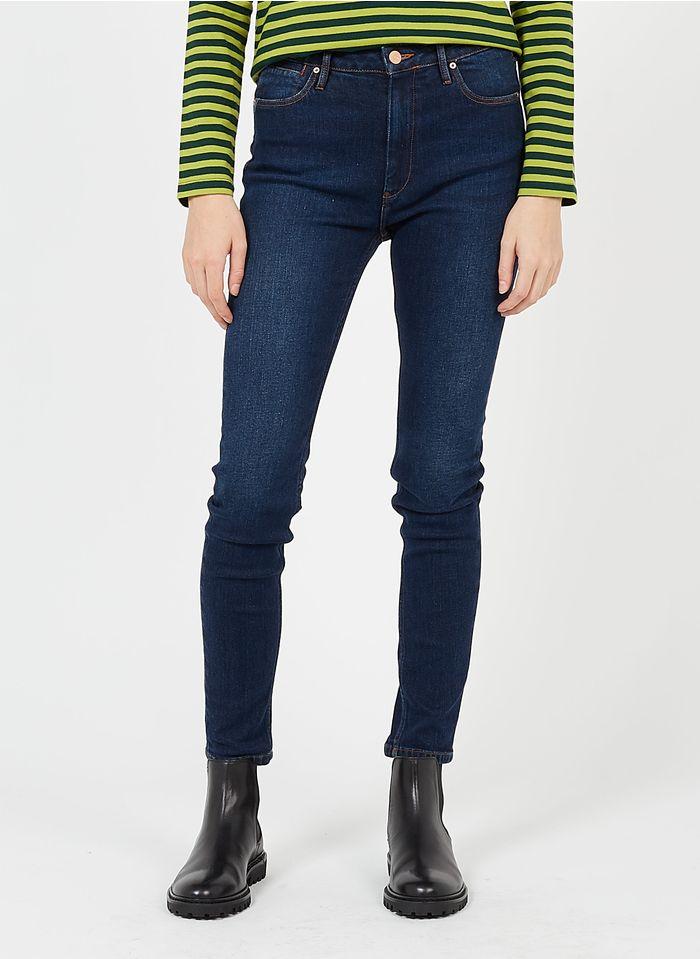 REIKO Jean skinny taille haute en coton bio Bleu