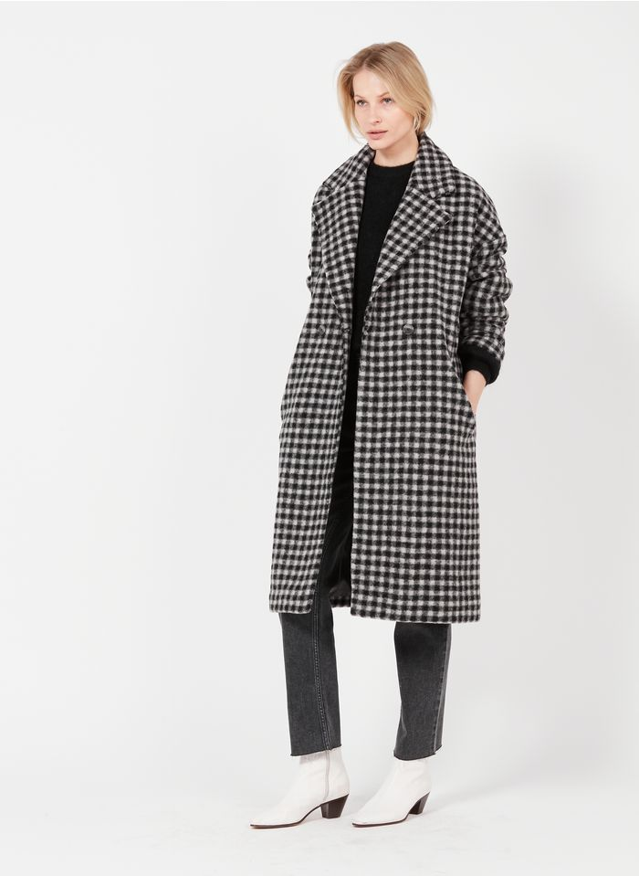 REIKO Manteau col tailleur à carreaux en laine mélangée Gris