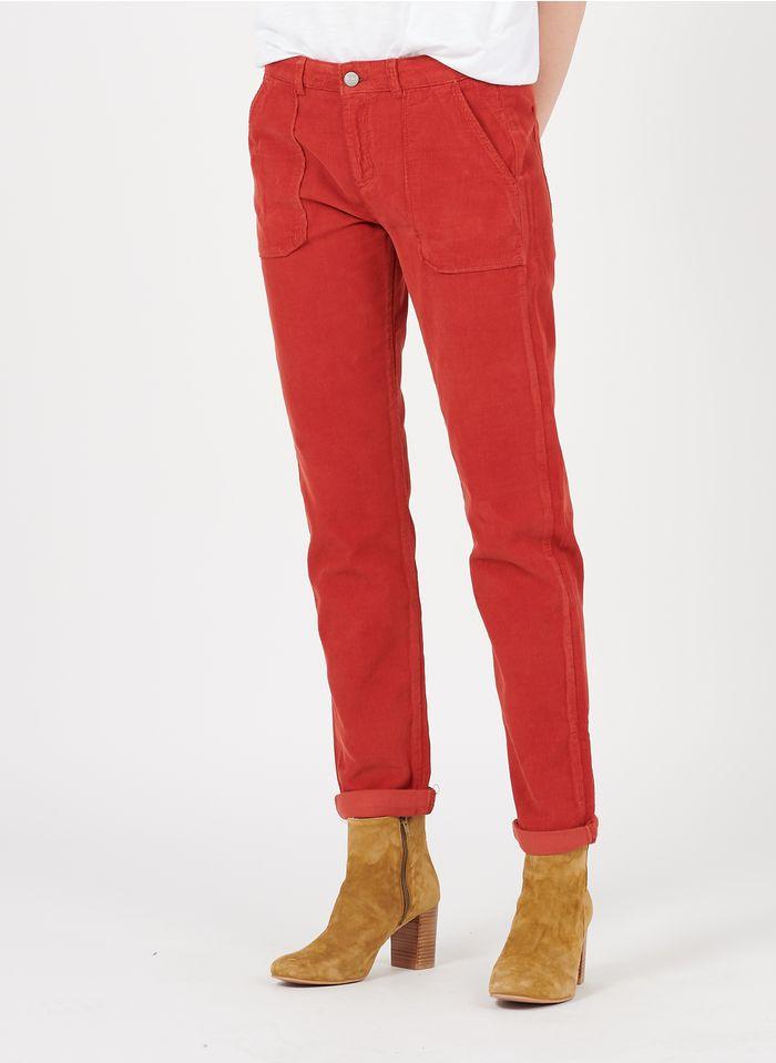 REIKO Pantalon droit en velours côtelé Rouge