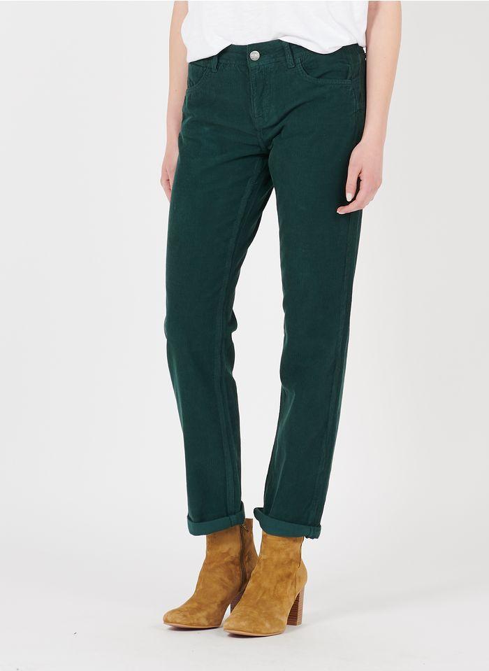 REIKO Pantalon droit en velours côtelé Vert