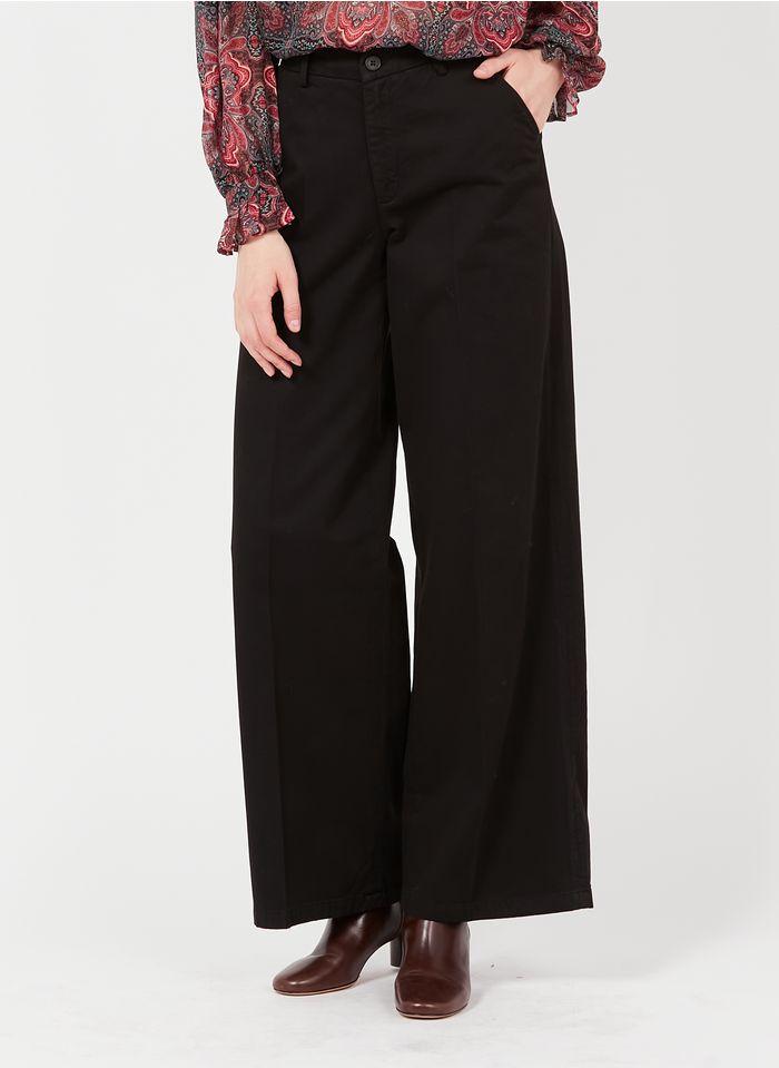 REIKO Pantalon large en coton bio Noir