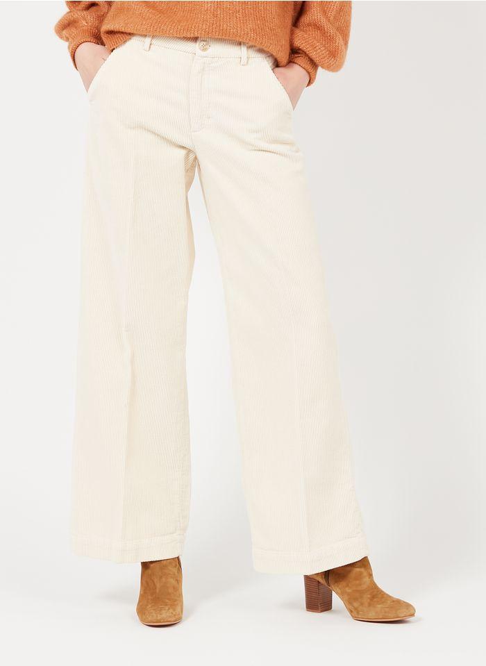 REIKO Pantalon large taille haute en velours côtelé Blanc