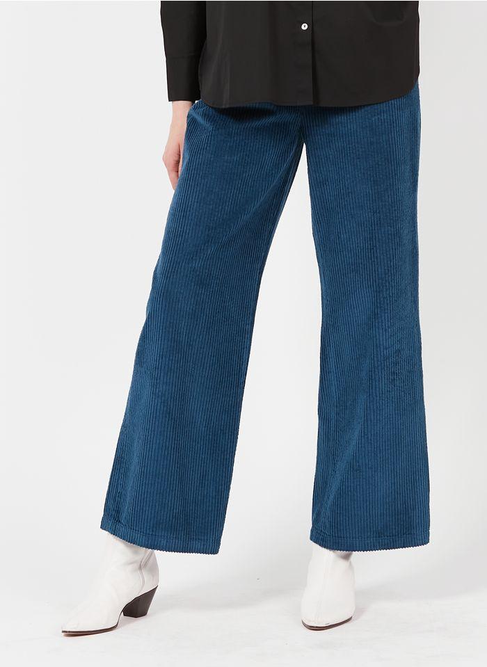 REIKO Pantalon large taille haute en velours côtelé Bleu