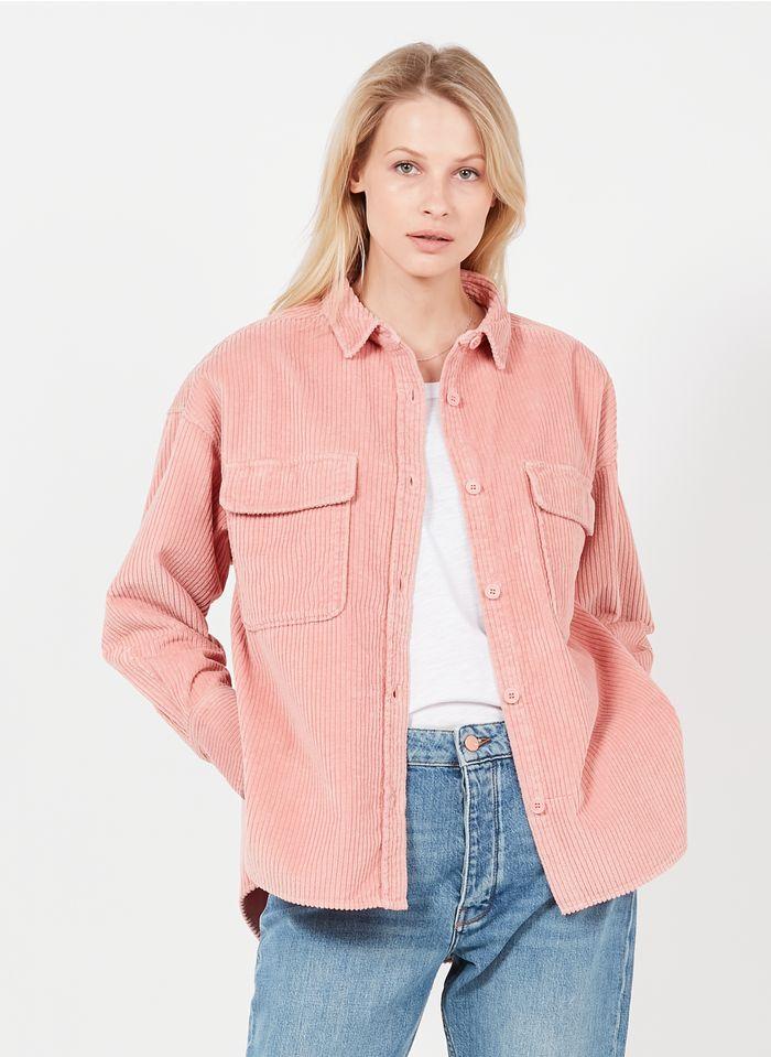 REIKO Sur-chemise col classique en velours côtelé Rose
