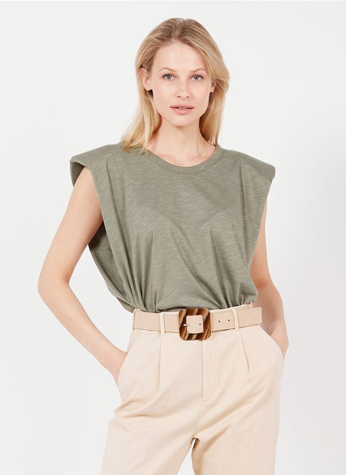 REIKO Tee-shirt col rond en coton organique Kaki