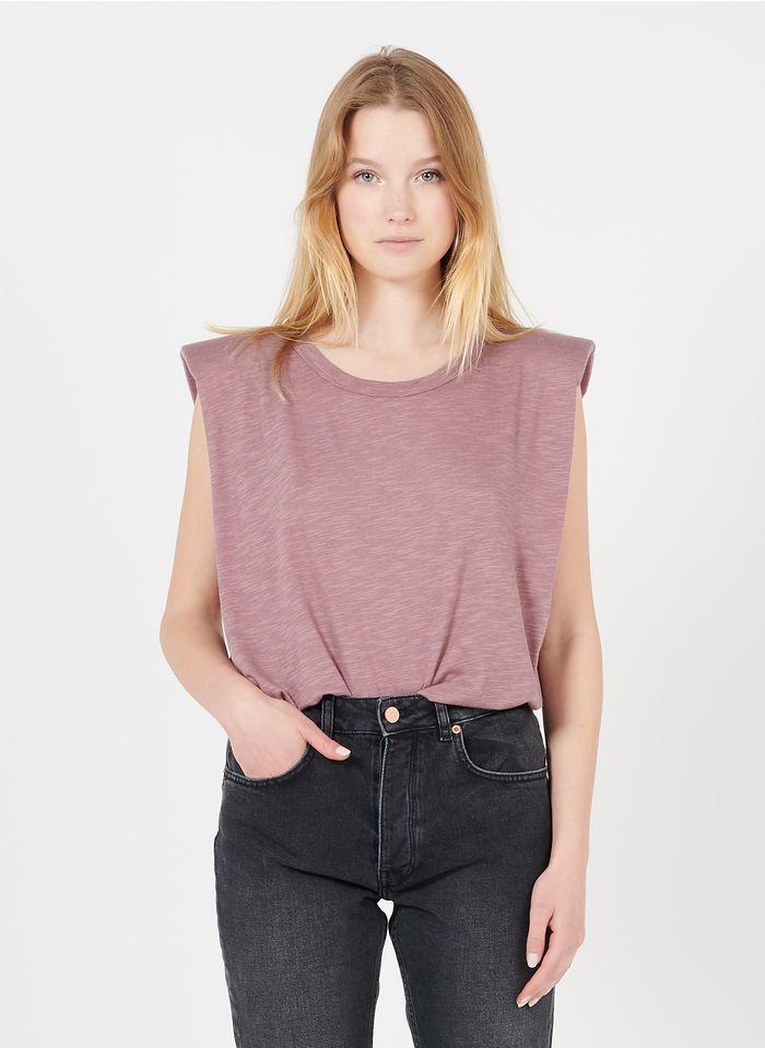 REIKO Tee-shirt col rond en coton organique Violet