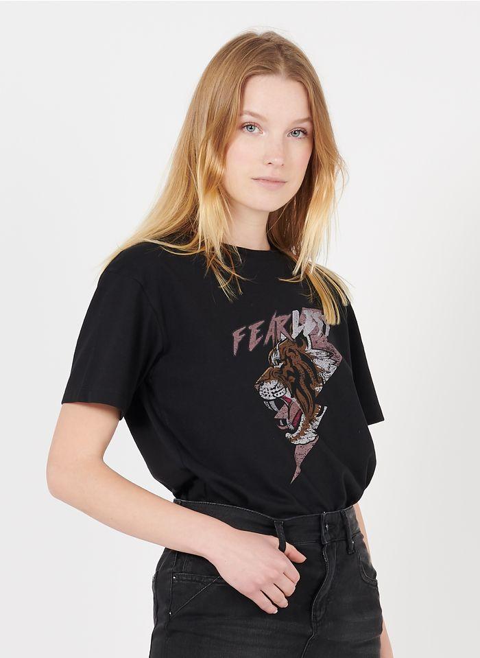 REIKO Tee-shirt col rond sérigraphié en coton mélangé Noir
