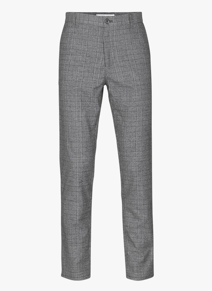 SAMSOE SAMSOE Pantalon slim-fit en jacquard coton à carreaux  Gris