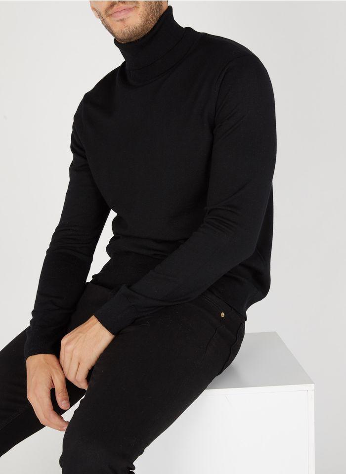 SANDRO Col roulé regular-fit en laine Noir
