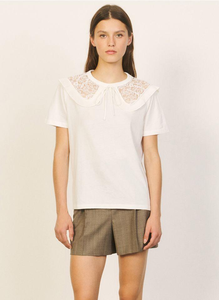 SANDRO T-shirt avec col claudine large en coton Blanc