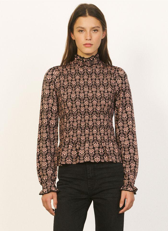 SANDRO Tee-shirt col montant imprimé fleuri Rose