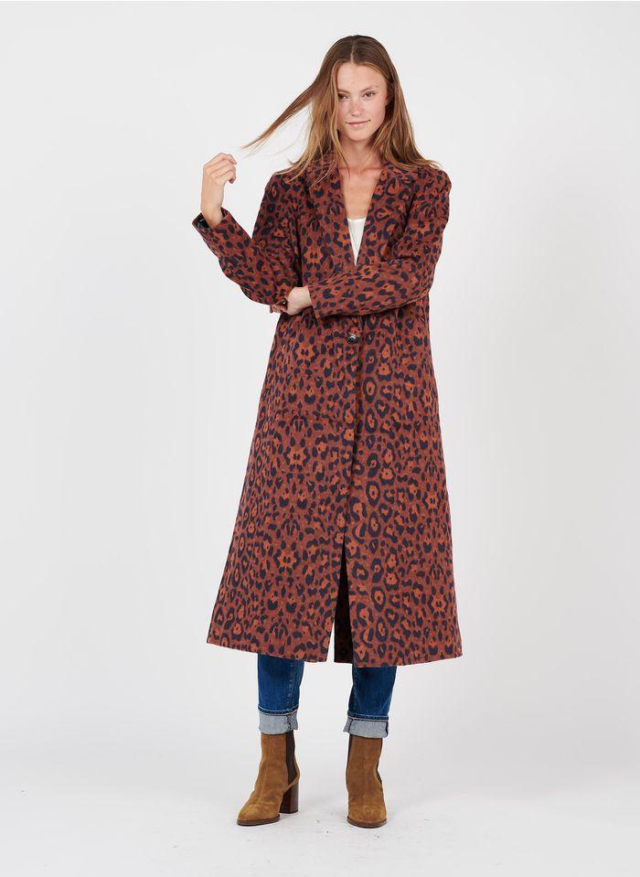 SEE U SOON Manteau long col tailleur motif léopard en laine mélangée  Orange