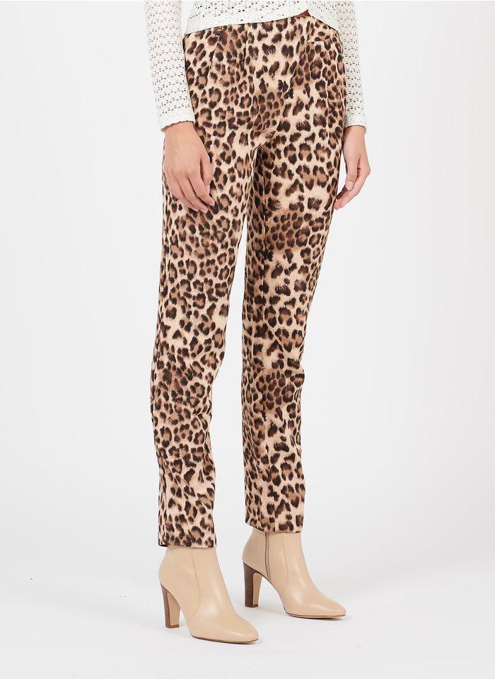 SEE U SOON Pantalon droit imprimé léopard  Beige