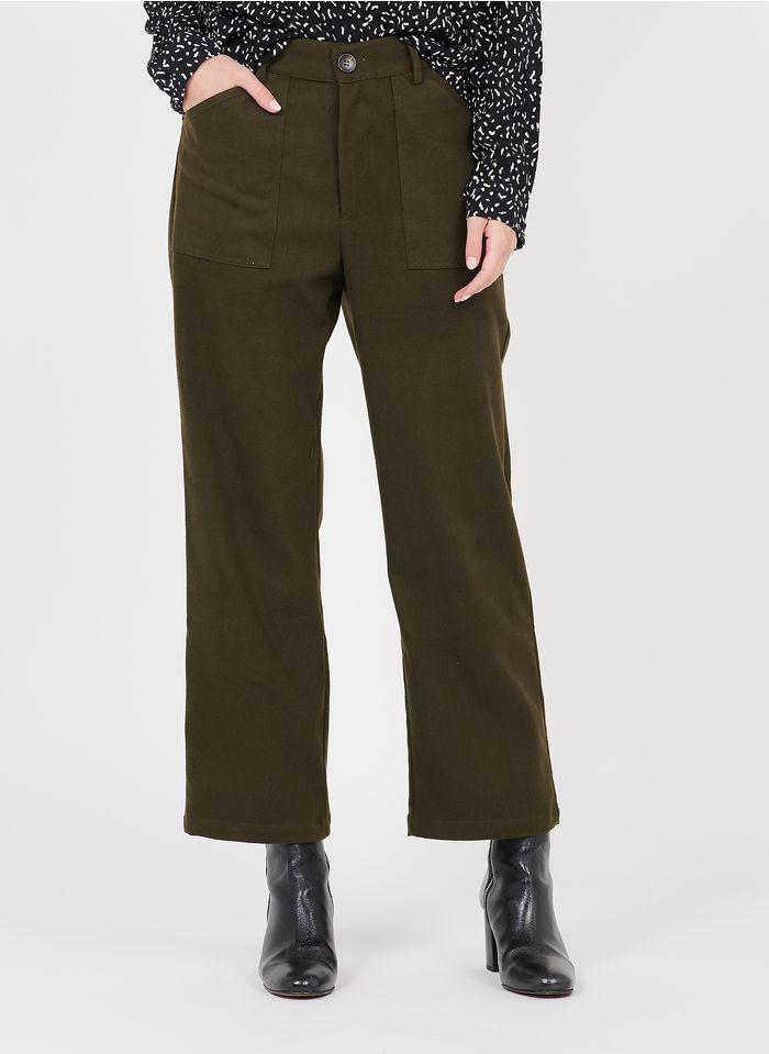 SEE U SOON Pantalon large taille haute Kaki