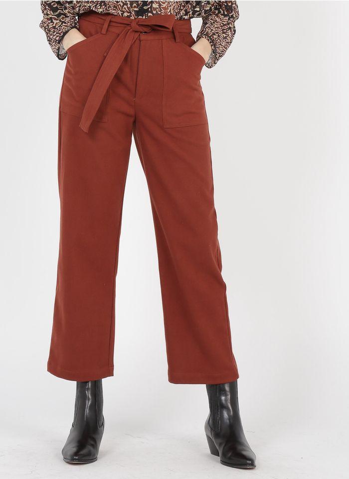 SEE U SOON Pantalon large taille haute Orange