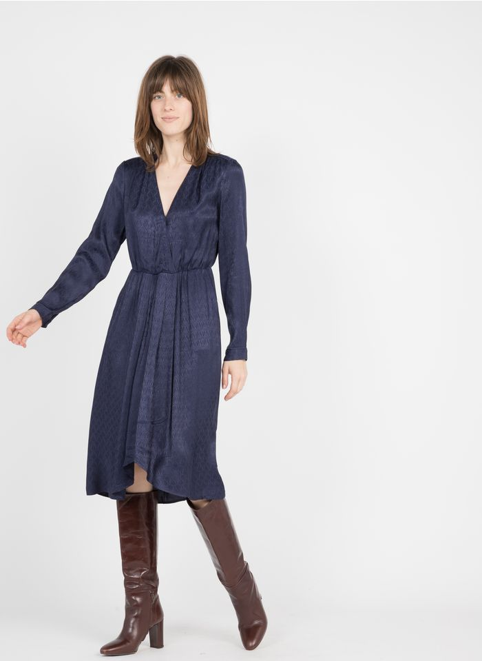 SEE U SOON Robe col V en jacquard Bleu
