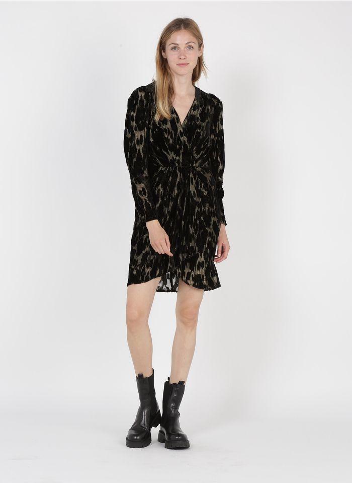 SEE U SOON Robe courte cache-coeur en velours Noir