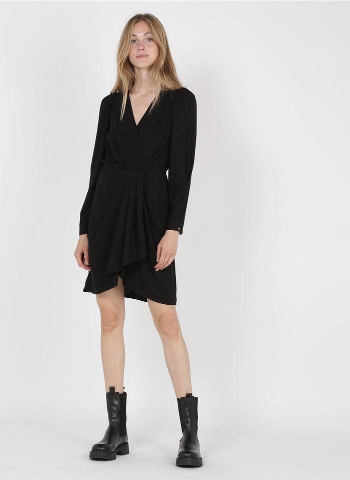 SEE U SOON Robe courte cache-coeur plissée Noir