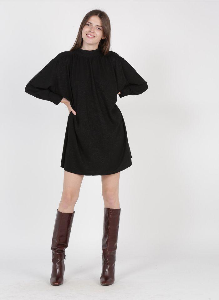 SEE U SOON Robe courte col lavallière Noir