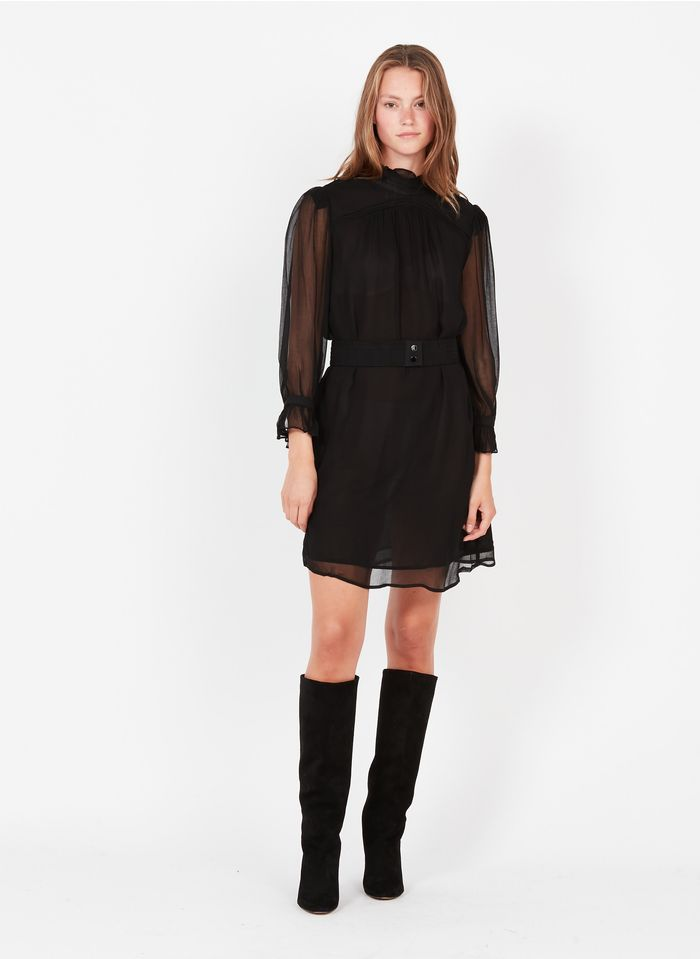 SEE U SOON Robe courte col Victorien  Noir