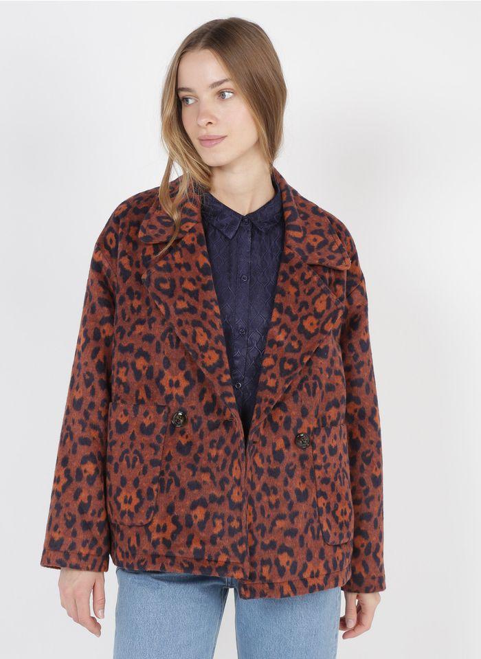 SEE U SOON Veste col tailleur imprimé léopard Orange