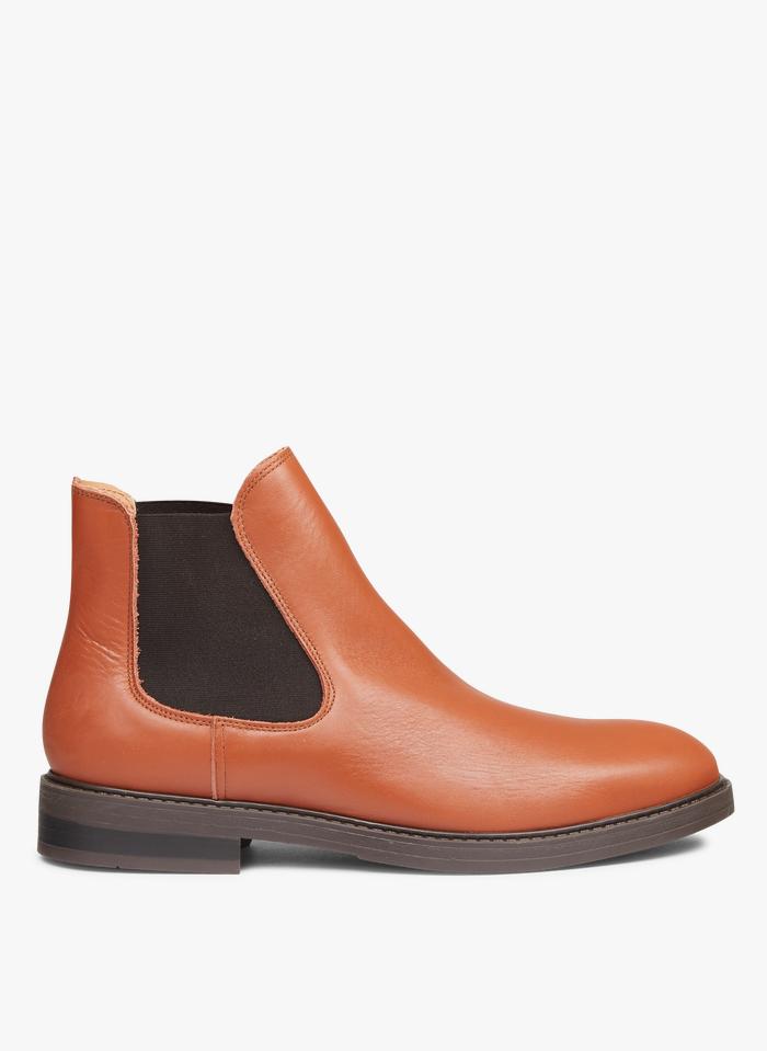 SELECTED Chelsea boots élastiqués en cuir Marron