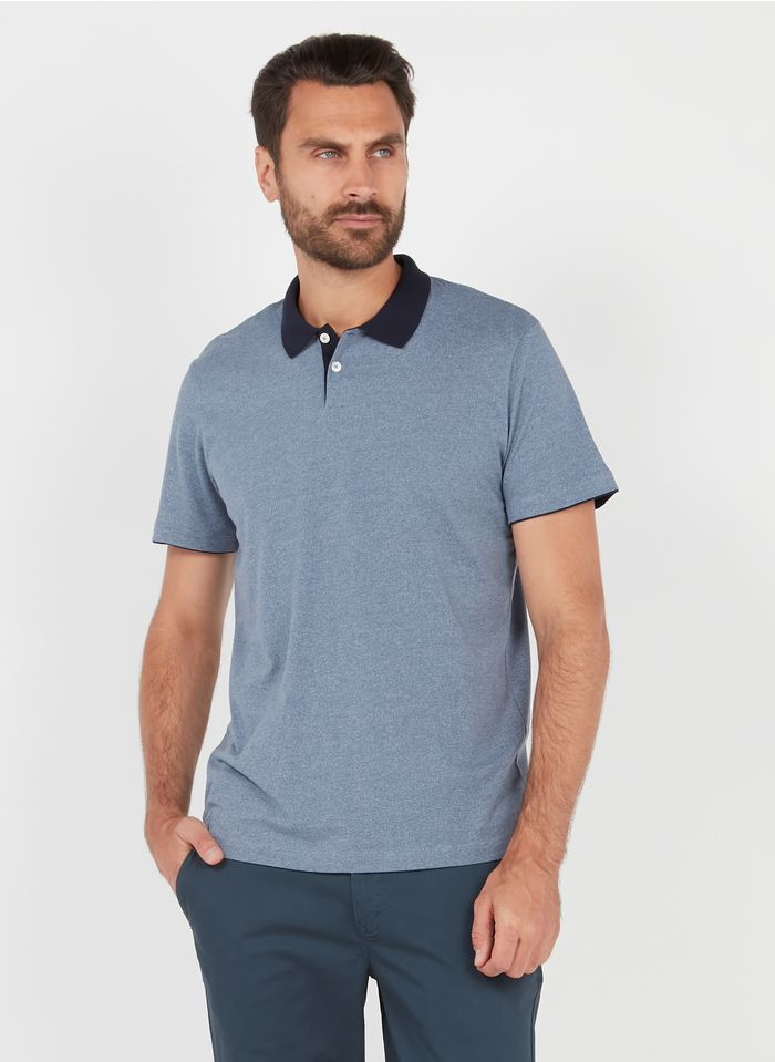 SELECTED Polo regular-fit en coton bio mélangé Bleu