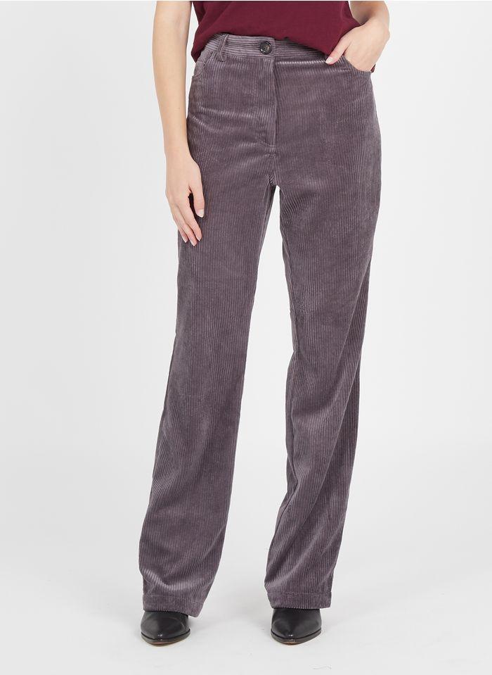 SESSUN Pantalon large taille haute en velours côtelé Gris