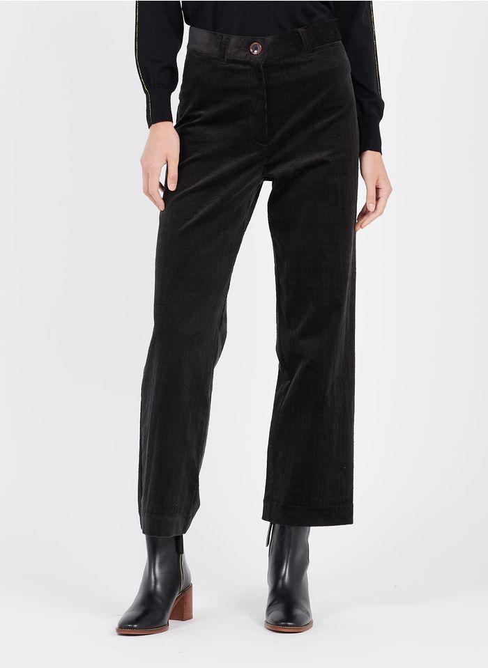 SESSUN Pantalon large taille haute en velours de coton côtelé Noir