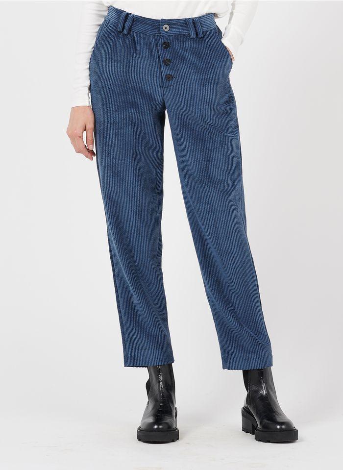 STELLA FOREST Pantalon droit en velours côtelé Bleu