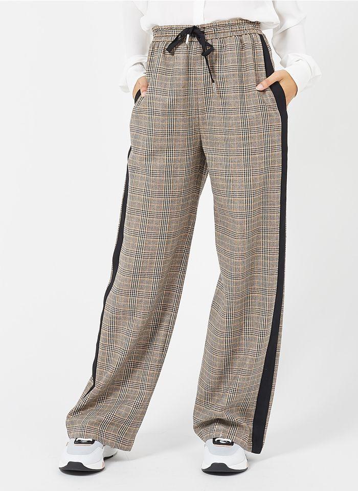 STELLA FOREST Pantalon large en coton mélangé Beige